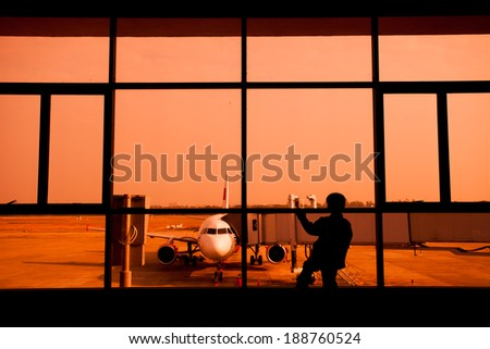Children waiting for the airport  - stock photo