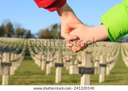 children walk hand in hand for peace world war 1 - stock photo