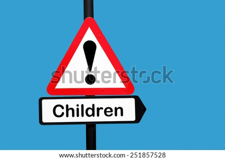 children warning sign - stock photo
