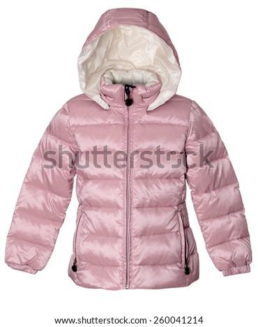 Children winter pink jacket - stock photo