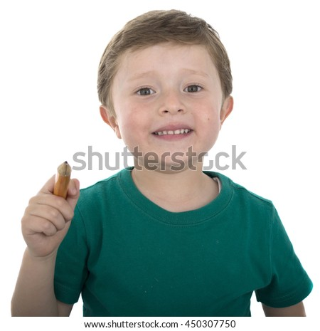 Children with a pencil isolated over white. - stock photo