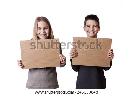children with cardboard signs - stock photo