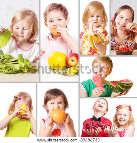 children with fruits - stock photo