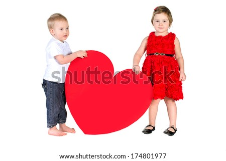 Children with huge heart made of red paper isolated on white background