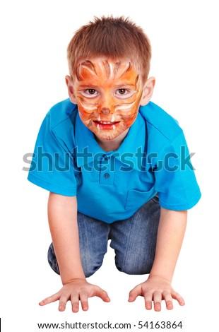 Children with paint of face. Make up. - stock photo