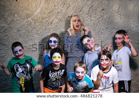 "Children with paints made scary faces and the teacher was scared. Editorial.  Children's camp""Birch"" Russia, Yaroslavl 19.08.2016"