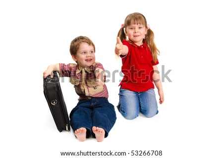 Children with thumbs up on a white background - stock photo