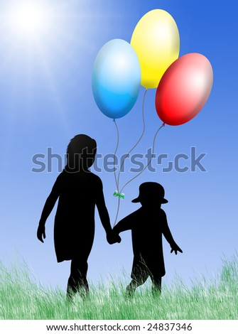 Children with toy balloons in a sunny day