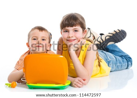 Children with toys laptop isolated on white