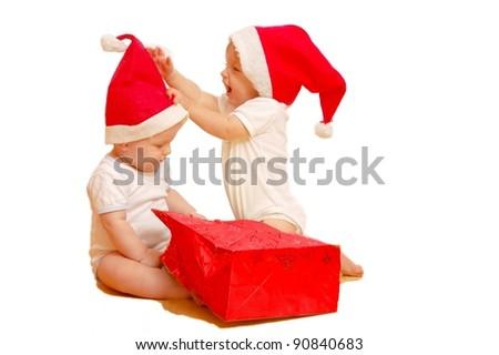 Children with x-mas presents - stock photo