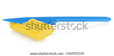 Children yellow plasticine with stick isolated on white