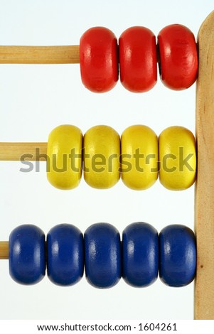 childrens abacus - calculator with all beads at one side, vertical close up - stock photo