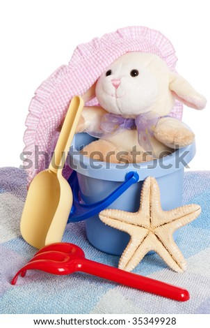 Childrens beach toys ready for the seaside - stock photo