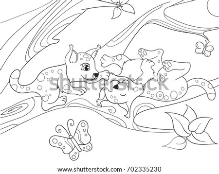 Childrens coloring book cartoon family of leopards on nature. For adults raster illustration. Anti-stress for adult. Black and white lines