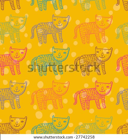 Childrens cute pattern - colorful cats. This illustration in vector - in my portfolio. - stock photo