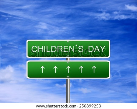 Childrens day holiday background banner sign.