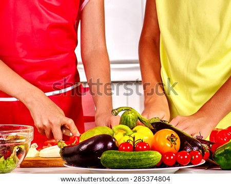 Childrens hands of  kids cooking at home kitchen. - stock photo