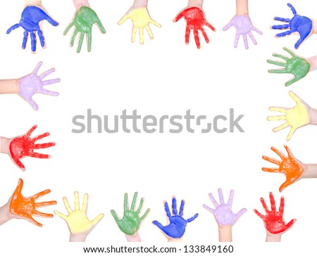Childrens hands painted in rainbow colors for a frame isolated on white background - stock photo