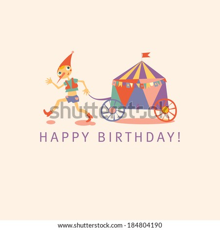 Childrens Happy birthday card. Light background. Raster version. Template for greeting card. - stock photo