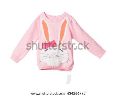 Childrens knitted blouse. Isolated on the white background.