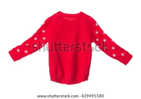 Childrens knitted jimper. Isolated on the white background. - stock photo