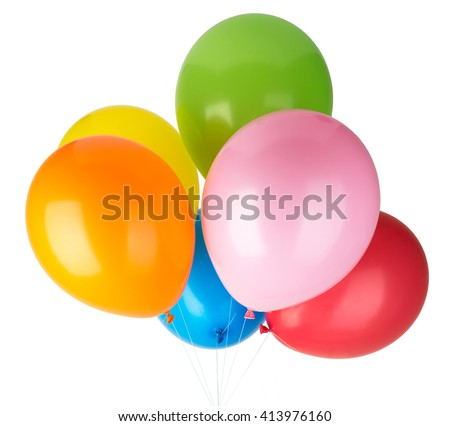 Childrens party colorful balloons isolated on white background - stock photo