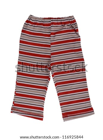 Childrens striped pants isolated on a white background - stock photo