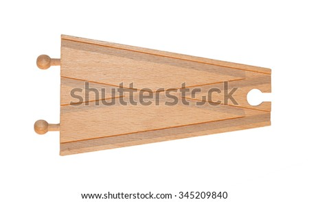 Childrens toy, wooden train track, junction, isolated on white - stock photo