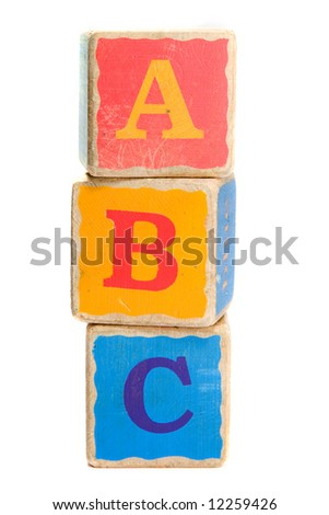 Childs toy blocks for education and learning the A B Cs - stock photo