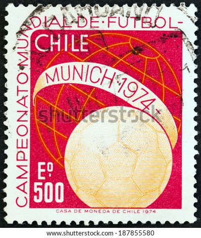 "CHILE - CIRCA 1974: A stamp printed in Chile from the ""World Cup Football Championships, West Germany "" issue shows ball and Globe, circa 1974.  - stock photo"