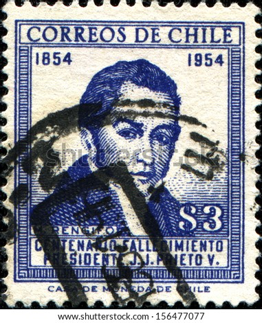 CHILE - CIRCA 1954: A stamp printed in Chile honoring  Death Centenary President Prieto, circa 1954 Jose Joaquin Prieto - was Chilean military and political figure, was twice President of Chile