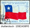 CHILE - CIRCA 1967: A stamp printed in Chile issued for the 150th anniversary of National Flag shows Chilean flag, circa 1967. - stock photo