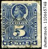 CHILE - CIRCA 1877: A stamp printed in Chile shows Christopher Columbus, circa 1877 - stock photo