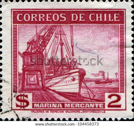 CHILE - CIRCA 1938: A stamp printed in Chile shows Conte de Biancamano (freighter) and Ponderoso, circa 1938