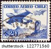 CHILE - CIRCA 1956: A stamp printed in Chile shows De Havilland Venom FB.4 and Easter Island monolith, circa 1956. - stock photo
