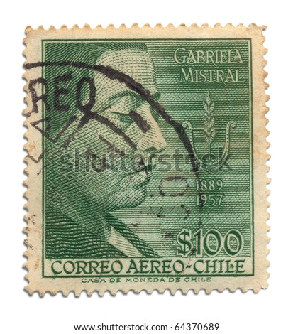 CHILE - CIRCA 1957: A stamp printed in Chile shows image of Gabriela Mistral with the inscription Gabriela Mistral 1889 - 1957, series first anniversary of the death of poet, circa 1957