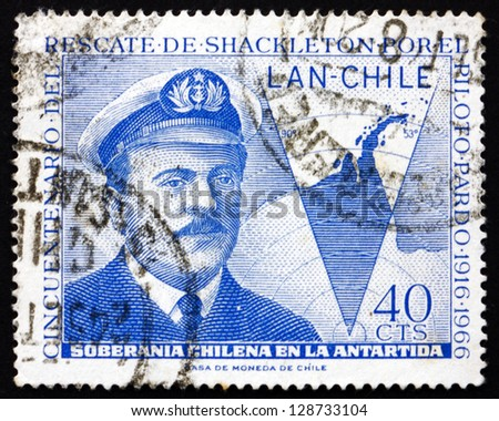 CHILE - CIRCA 1967: a stamp printed in the Chile shows Capt. Luis Pardo and Map of Chile'??s Claim to Antarctica, circa 1967