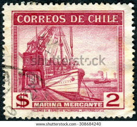 "CHILE - CIRCA 1939: Postage stamp printed in Chile, shows steamship merchant fleet ""Poderoso"", circa 1939"