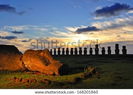 CHILE - FEBRUARY 5: Moais of Ahu Tongariki at sunrise on Easter Island, Chile. - stock photo