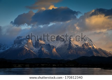 CHILE - FEBRUARY 19: Serrano River and Torres Del Paine National Park - stock photo