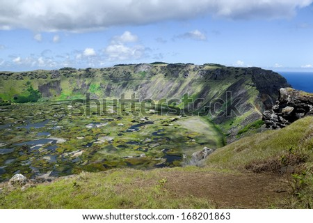 CHILE - FEBRUARY 7: The crater on Easter Island on February 7, 2012. It was created by the volcano that formed the land.