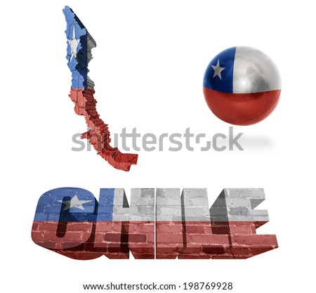 Chile flag and map in different styles in different textures