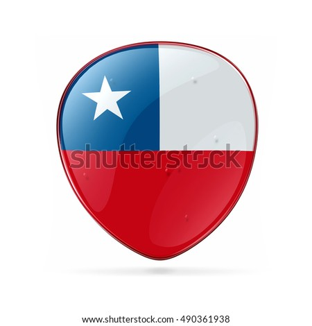 Chile Flag Icon, isolated on white background.