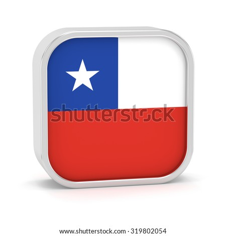 Chile flag sign on a white background. Part of a series. - stock photo