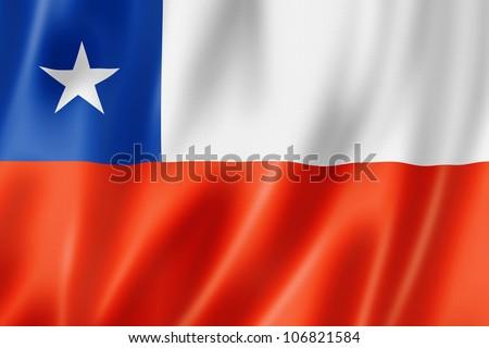 Chile flag, three dimensional render, satin texture - stock photo