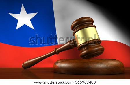 Chile law, legal system and justice concept with a 3d render of a gavel on a wooden desktop and the Chilean flag on background. - stock photo