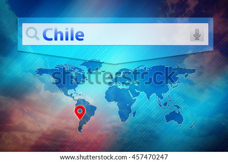 Chile place on the world map. Red pin mark location Chile on the global map. Colourful design world map.