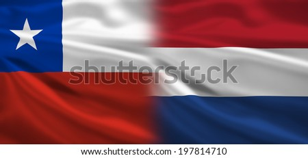 Chile vs Holland flags concept for soccer (football) matches