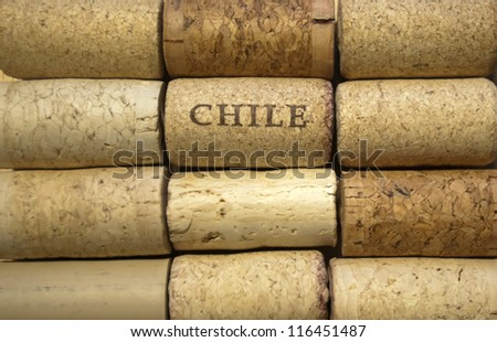 Chile wine corks in rows
