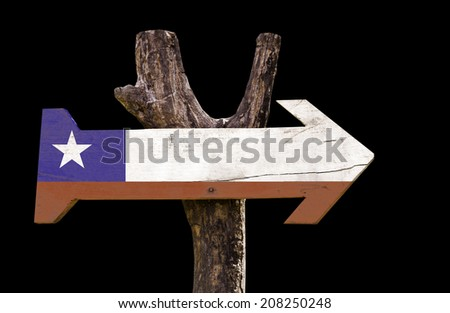 Chile wooden sign isolated on black background - stock photo